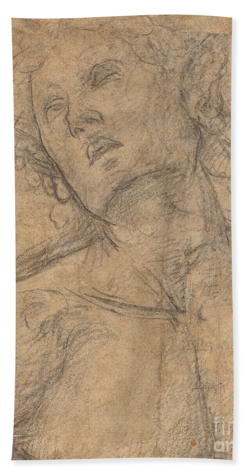 Beach Towel featuring the drawing Bust Of A Youth Looking Upward [recto] by Luca Signorelli