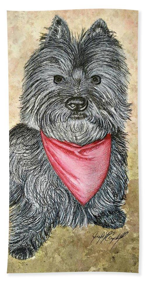 Jennifer Campbell Brewer Beach Towel featuring the painting Buster by Jennifer Campbell Brewer