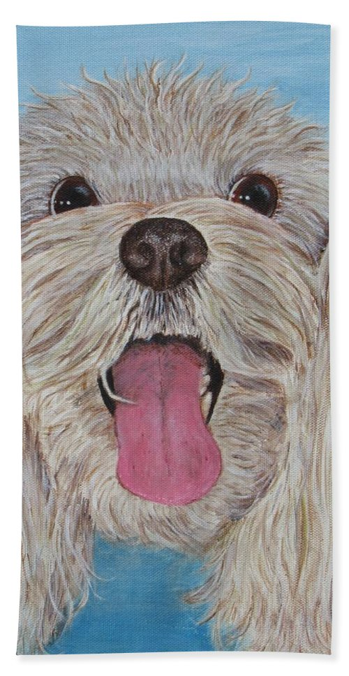 Dog Beach Towel featuring the painting Buster by Nancy Nale