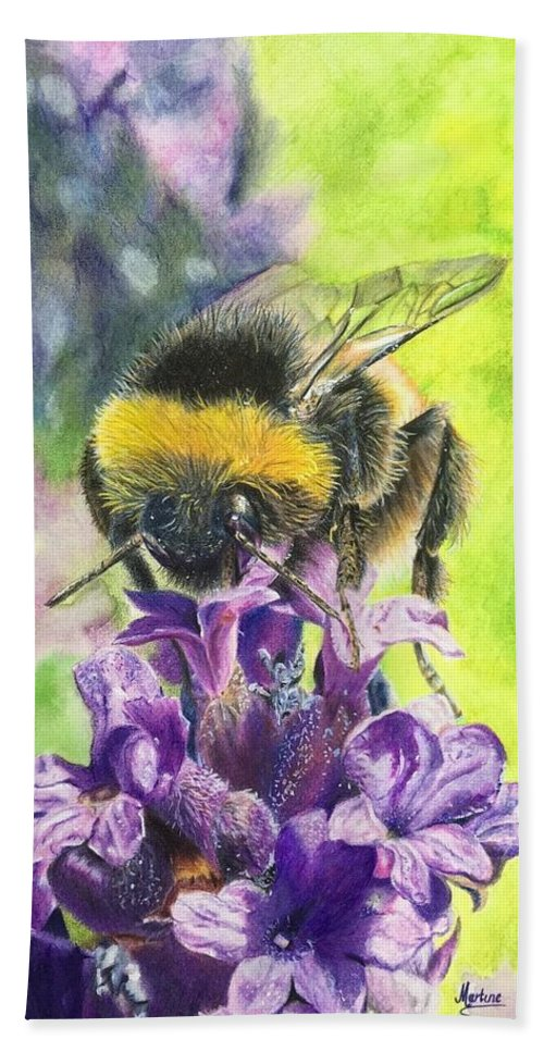 Bumblebee Beach Towel featuring the drawing Busy Bumblebee by Martine Venis-Heethaar
