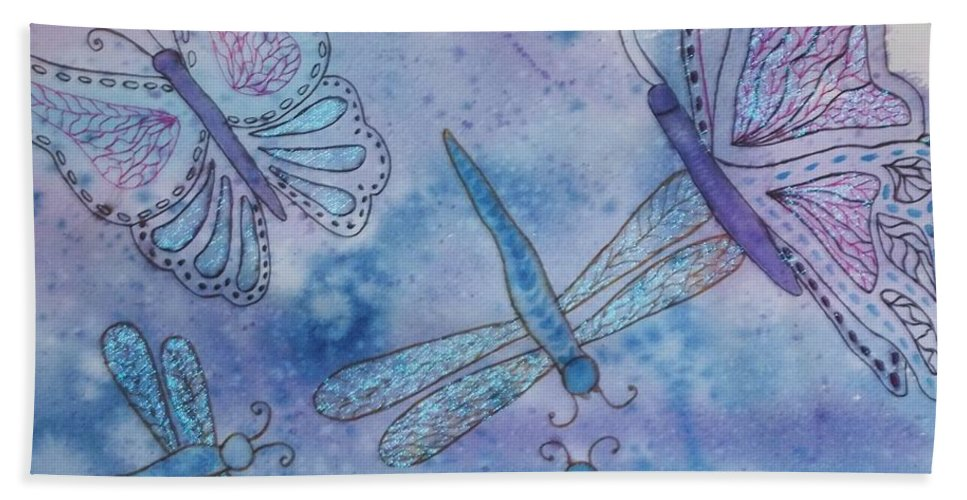 Butterflies Beach Towel featuring the painting Butterflies And Dragonflies by Ellen Levinson