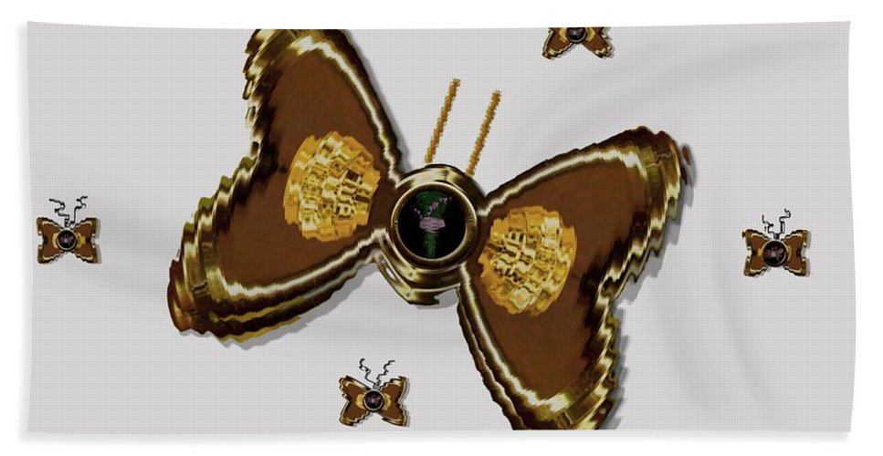 Gold Beach Towel featuring the mixed media Butterflies For The Worlds Future by Pepita Selles