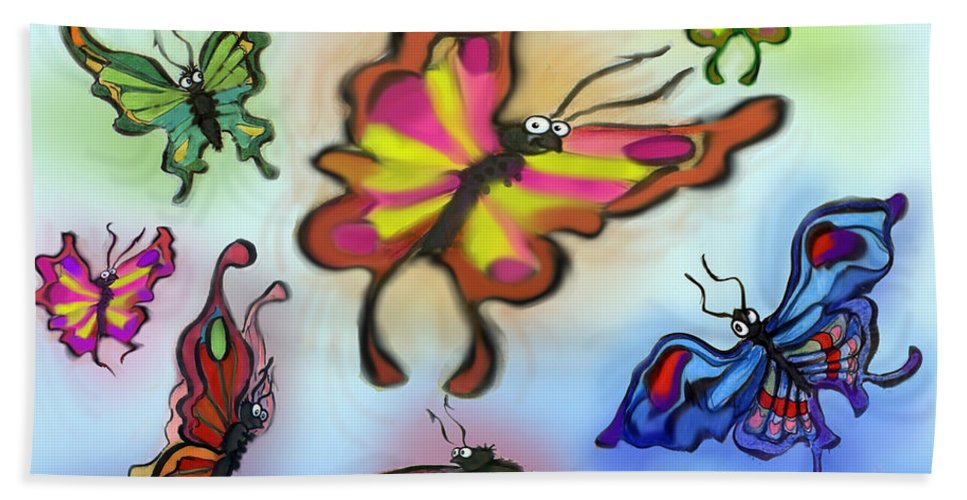 Butterfly Beach Towel featuring the digital art Butterflies by Kevin Middleton