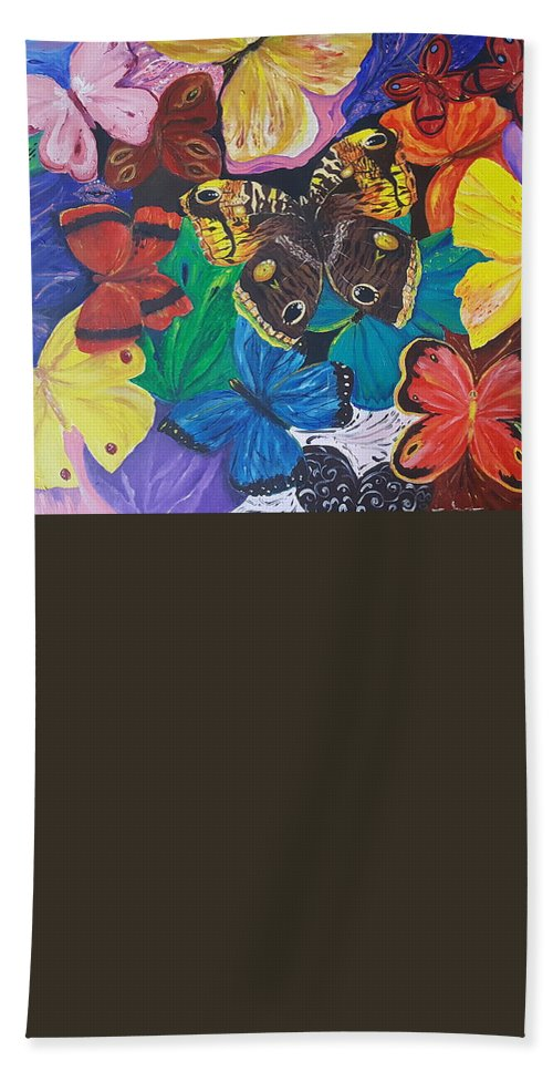 Butterfly Beach Towel featuring the painting Butterflies 2 by Rita Fetisov
