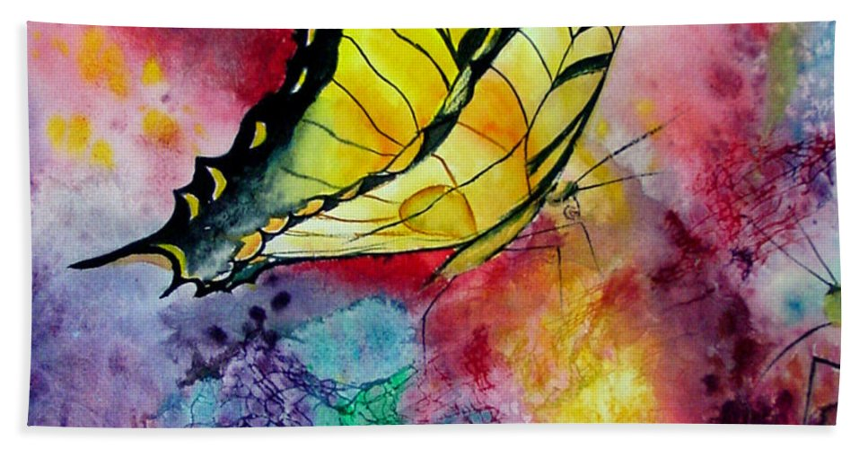 Watercolor Beach Towel featuring the painting Butterfly 2 by Dee Carpenter