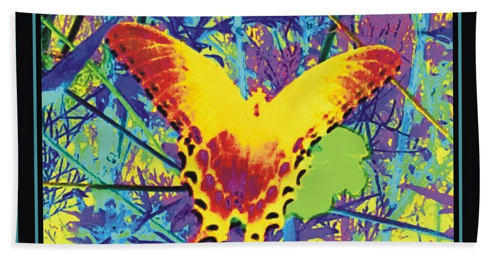 Butterfly Beach Towel featuring the mixed media Butterfly All Aglow by Debra Lynch