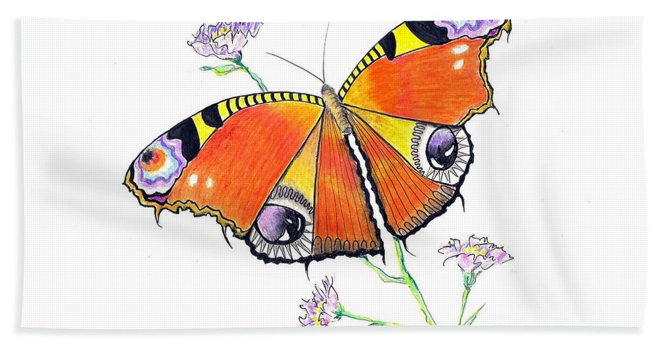 Butterfly Beach Towel featuring the drawing Butterfly Dressed For A Masquerade Ball by Jayne Somogy