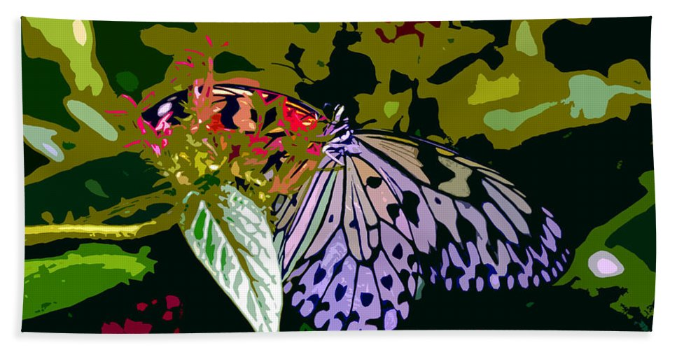 Butterfly Beach Towel featuring the photograph Butterfly In Garden by David Lee Thompson
