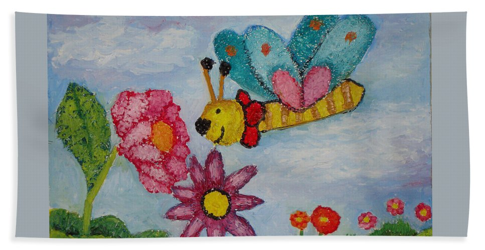 Landscape Beach Towel featuring the painting Butterfly In The Field by Ioulia Sotiriou