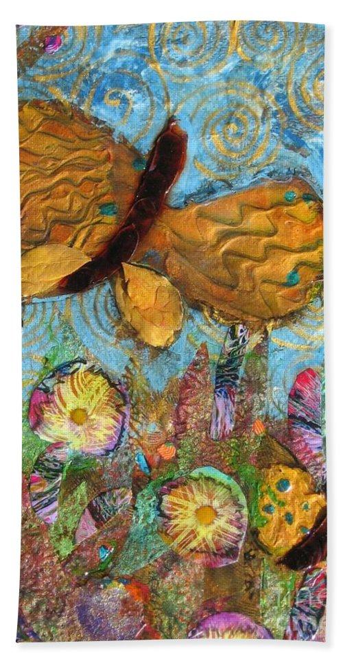 Acrylic Beach Towel featuring the mixed media Butterfly Meadow by Maria Watt