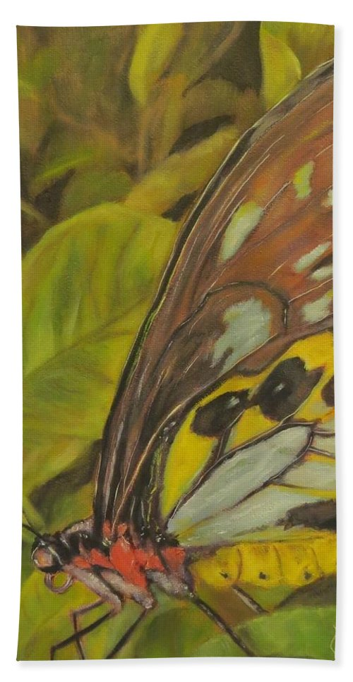 Butterfly Beach Towel featuring the painting Butterfly On Leaves by Sandra Reeves