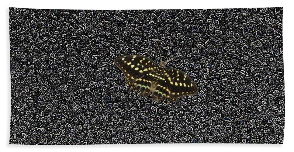 Butterfly Beach Towel featuring the photograph Butterfly On Stone by Tim Allen