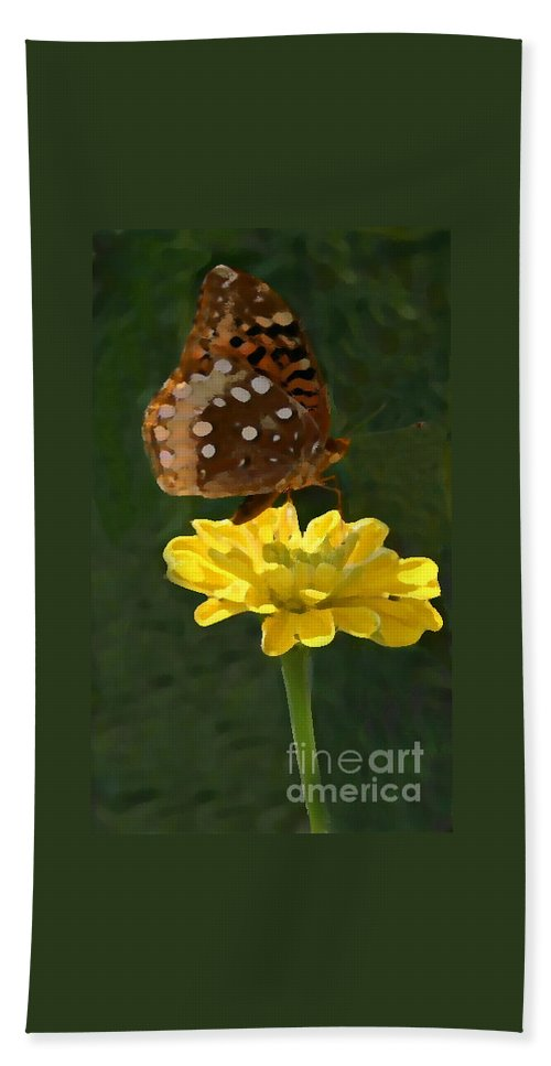 Butterfly Beach Towel featuring the photograph Butterfly On Yellow by Kim Henderson