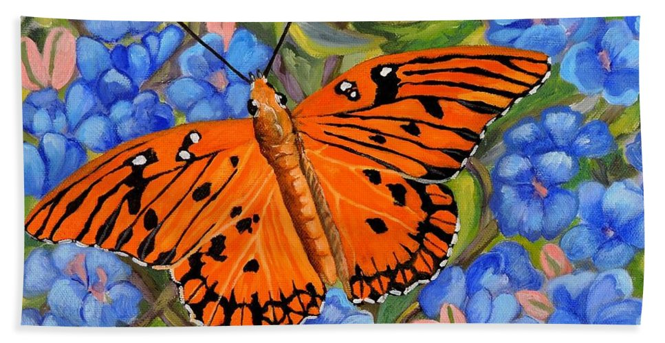 Butterfly Beach Towel featuring the painting Butterfly Orange by Caroline Street