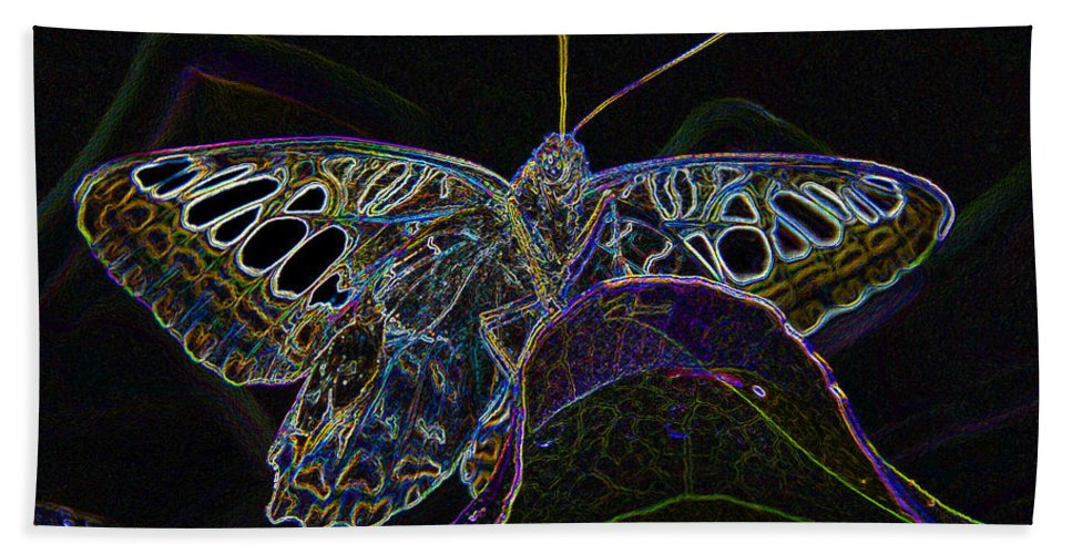 Art Beach Towel featuring the painting Butterfly Work Rws Number 6 by David Lee Thompson