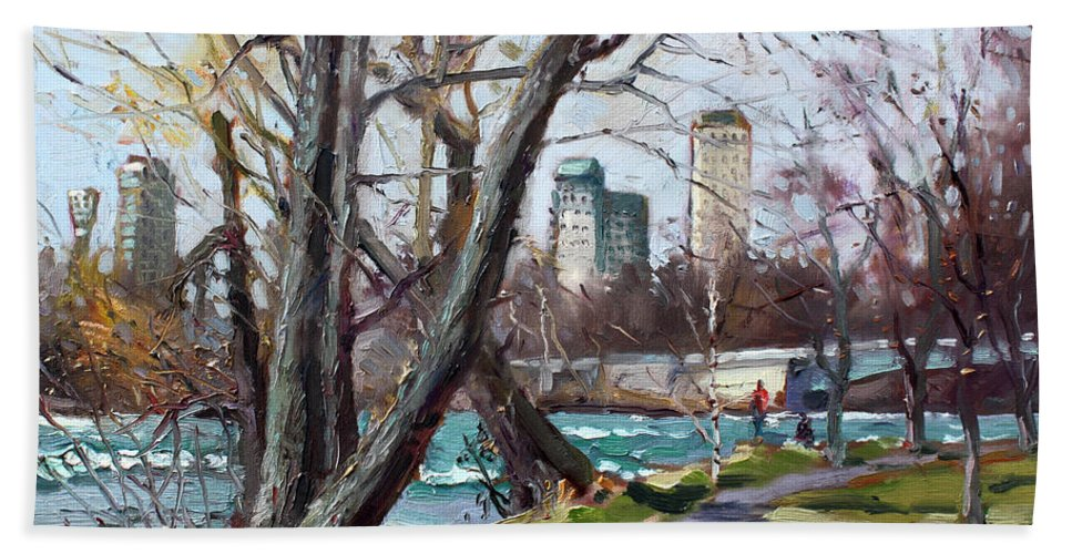 Niagara Falls Beach Towel featuring the painting By Niagara River by Ylli Haruni