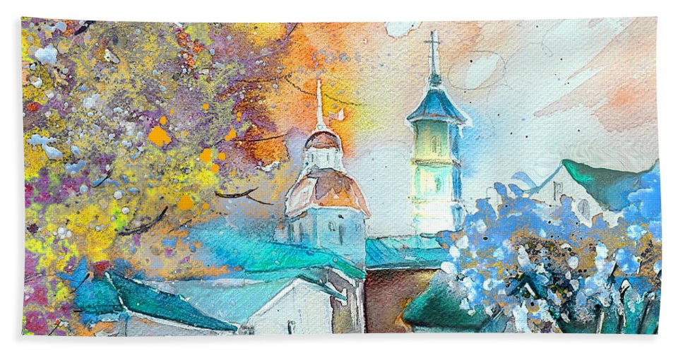 Watercolour Travel Painting Of A Village By Teruel In Spain Beach Towel featuring the painting By Teruel Spain 03 by Miki De Goodaboom