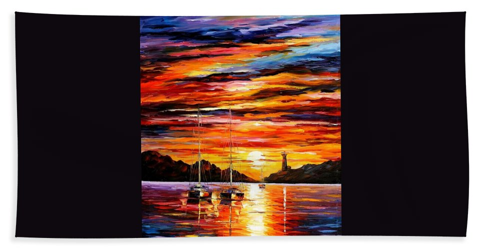 Afremov Beach Towel featuring the painting By The Entrance To The Harbor by Leonid Afremov