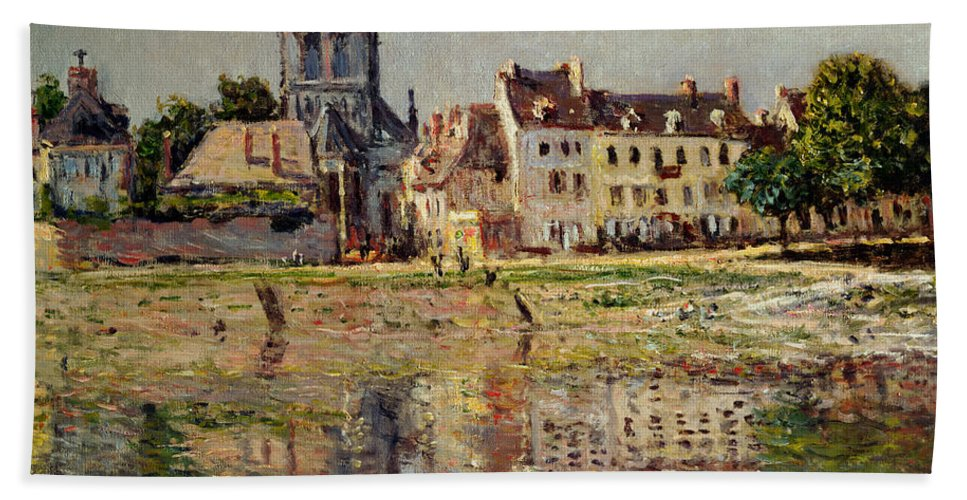 Monet Beach Towel featuring the painting By The River At Vernon by Claude Monet