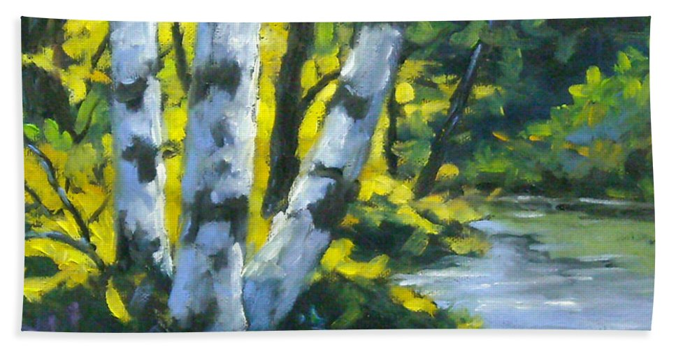 Art Beach Towel featuring the painting By The River by Richard T Pranke