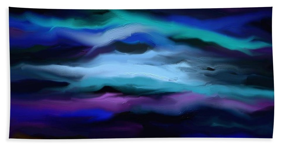 Digital Beach Towel featuring the painting By The Sea by Rushan Ruzaick