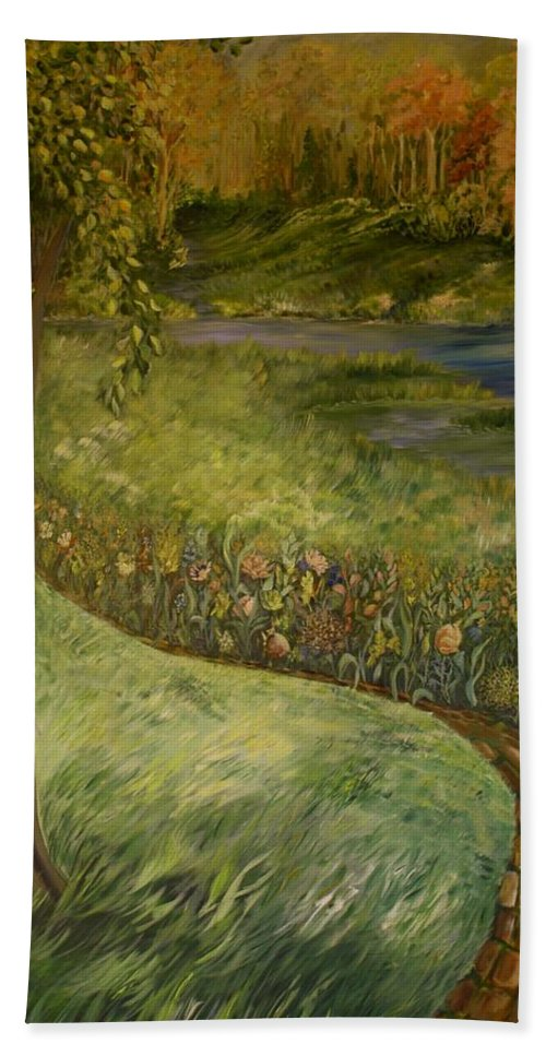 Creek Beach Towel featuring the painting Byron And Jenny's Backyard by Joanne Smoley