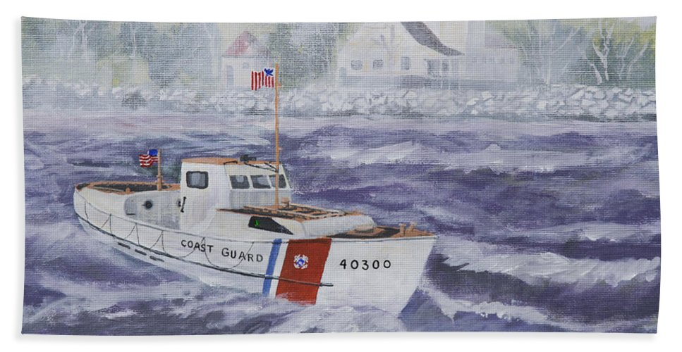 Coast Guard Beach Towel featuring the painting C G 40300 At Coast Guard Station Plum Island by Jerry McElroy