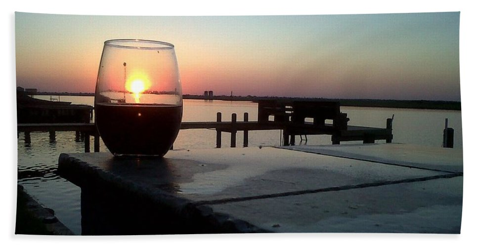 Sunset Wine Cabernet Ocean Dock Beach Towel featuring the photograph Cabernet Sunset by Cindy New