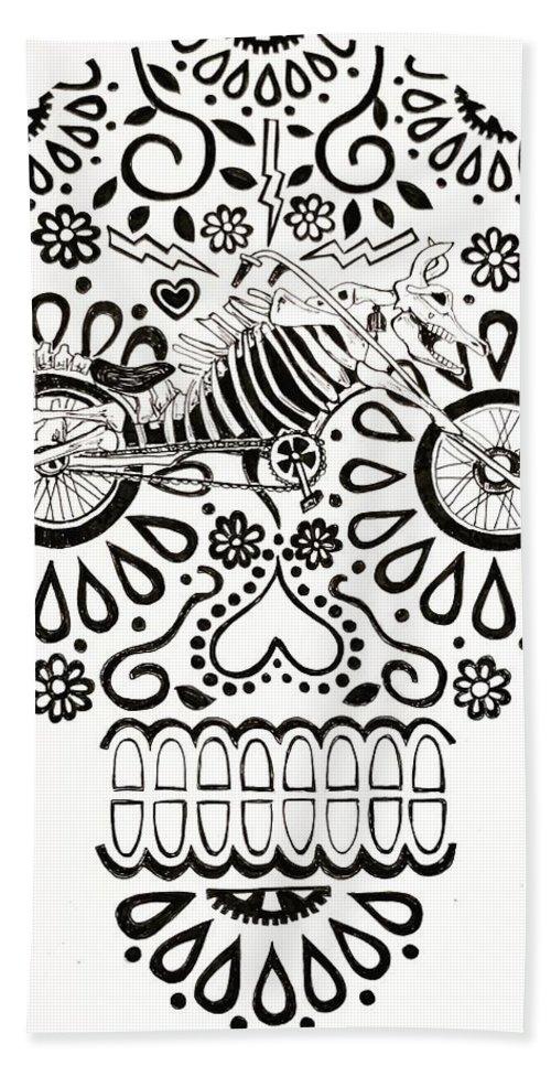 Sugarskulls Beach Towel featuring the drawing Cabeza De Vaca-cicleta by John Parish