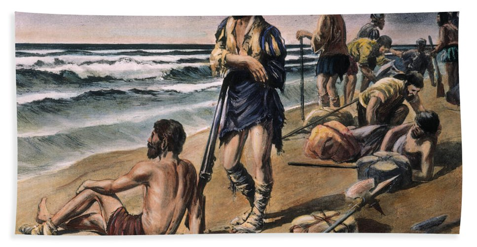 16th Century Beach Towel featuring the photograph Cabeza De Vaca Expedition by Granger
