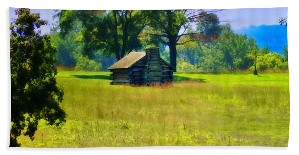 Cabin Beach Towel featuring the photograph Cabin At Valley Forge by Bill Cannon