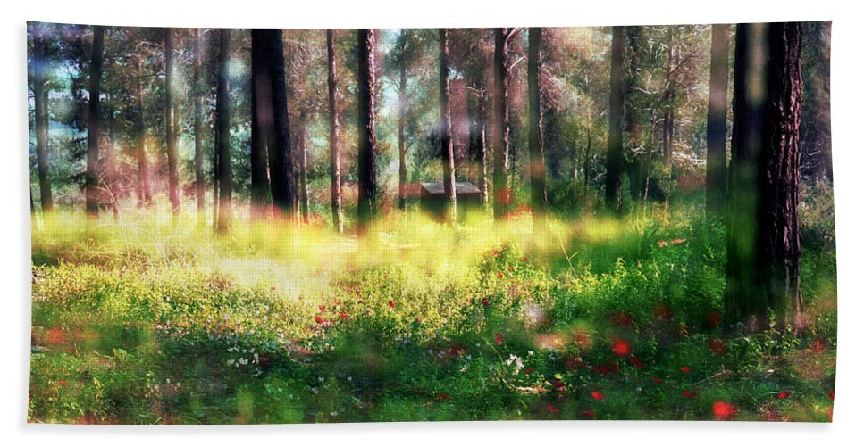Impressionistic Beach Towel featuring the photograph Cabin In The Woods In Menashe Forest by Dubi Roman