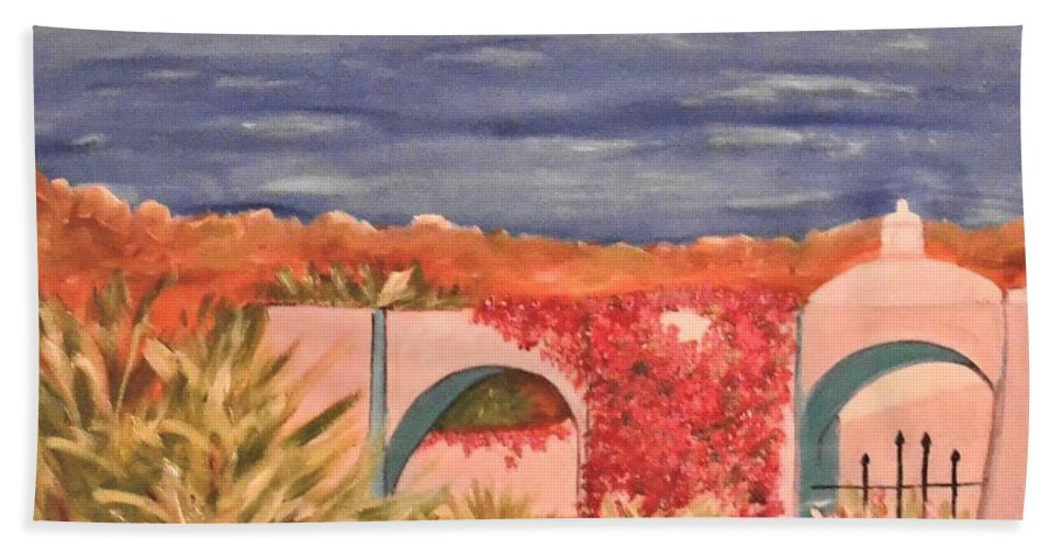Cabo San Lucas Beach Towel featuring the painting Cabo Garden by Laurie Morgan