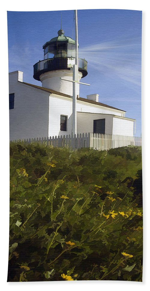 Lighthouse Beach Towel featuring the digital art Cabrillo Lighthouse by Sharon Foster