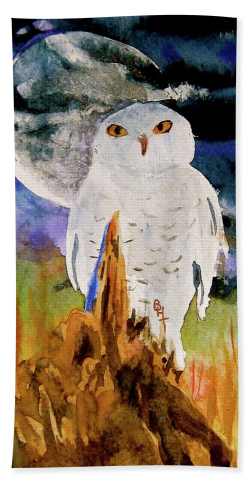 Watercolor Beach Towel featuring the painting Cacciatore Di Notte by Beverley Harper Tinsley
