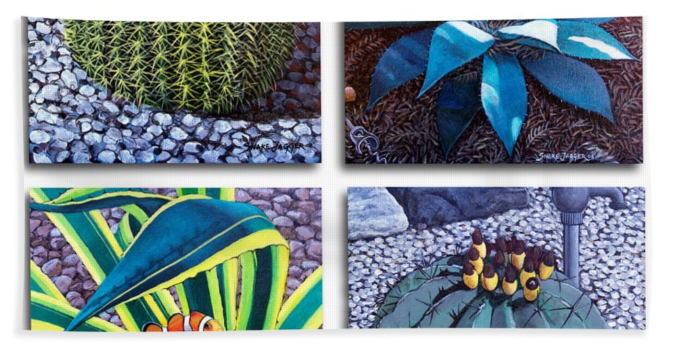 Cactus Beach Towel featuring the painting Cactus Close Ups by Snake Jagger