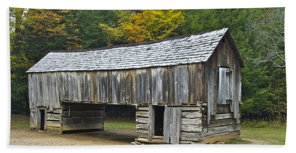 Cades Cove Beach Towel featuring the photograph Cades Cove Barn by Michael Peychich