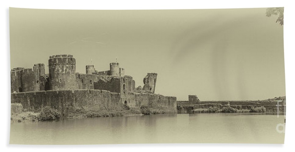 Caerphilly Castle Beach Towel featuring the photograph Caerphilly Castle Panorama Antique by Steve Purnell