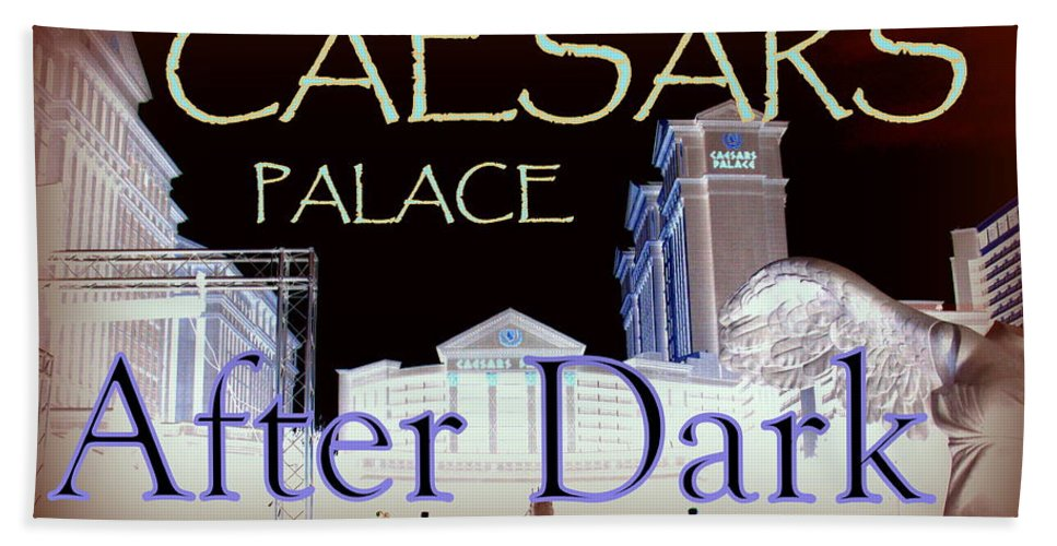 Beach Towel featuring the photograph Caesars Palace After Dark by Jacqueline Manos
