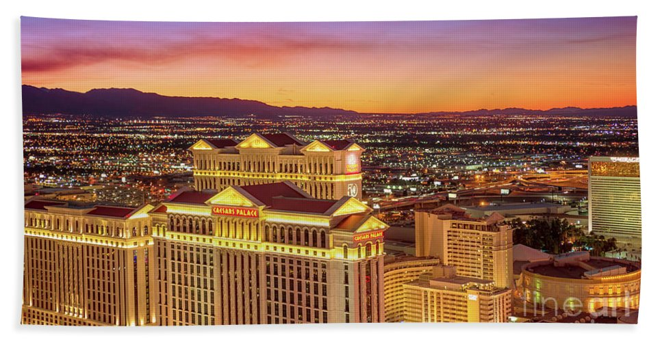 Caesars Palace Beach Towel featuring the photograph Caesars Palace After Sunset 6 To 3.5 Aspect Ratio by Aloha Art
