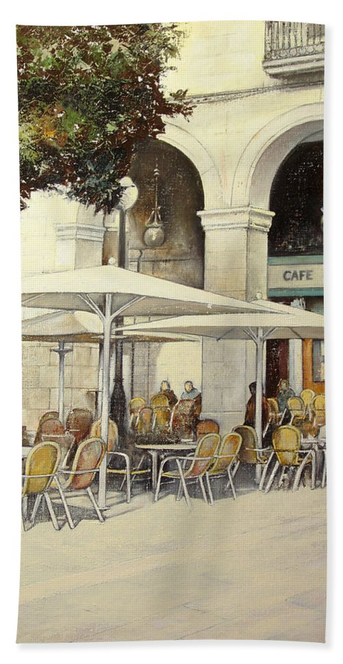 Cafe Beach Towel featuring the painting Cafe de Pombo-Santander by Tomas Castano