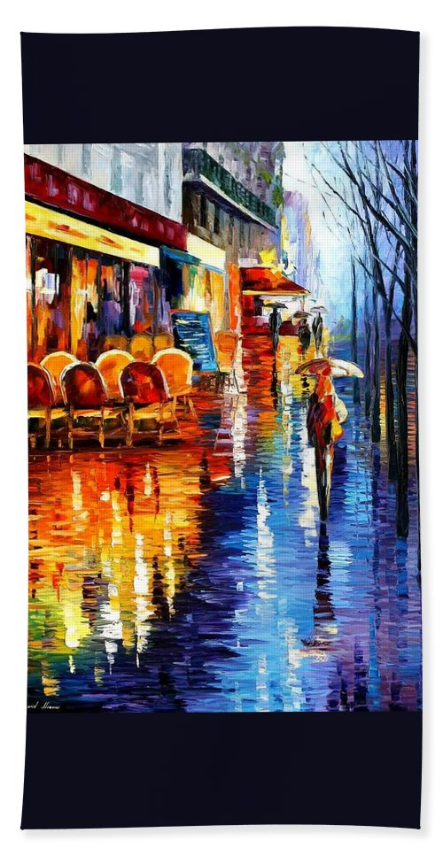 Afremov Beach Towel featuring the painting Cafe In Paris by Leonid Afremov