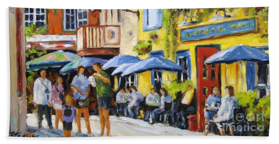 Balcony Beach Towel featuring the painting Cafe In The Old Quebec by Richard T Pranke