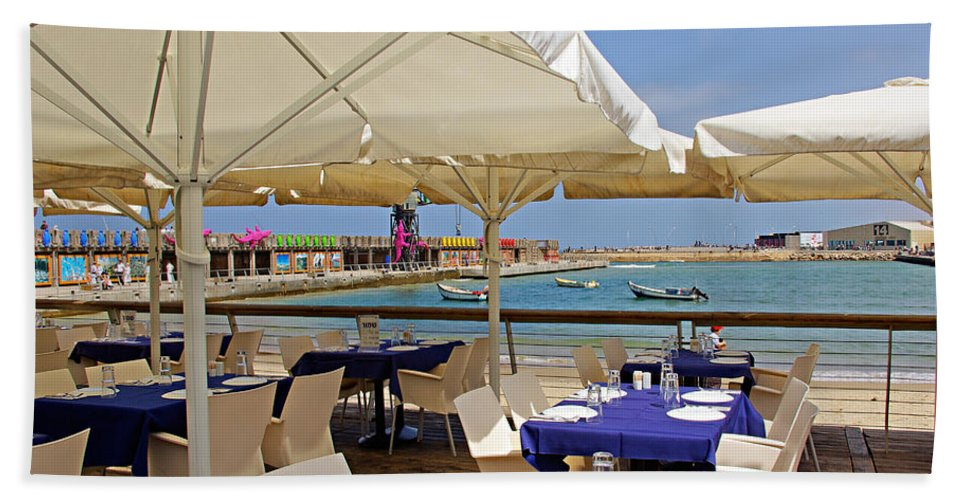 Cafe Beach Towel featuring the photograph Cafe In White And Purple by Zal Latzkovich