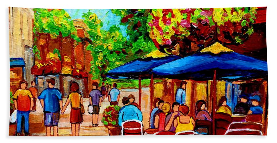 Cafe On Prince Arthur In Montreal Beach Towel featuring the painting Cafe On Prince Arthur In Montreal by Carole Spandau