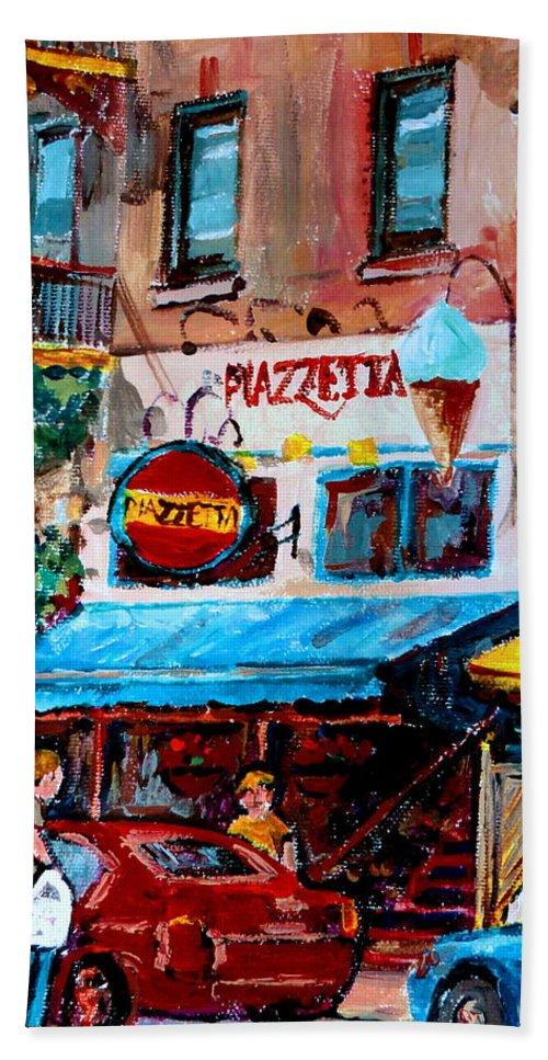 Cafes On St Denis Paris Cafes Beach Sheet featuring the painting Cafe Piazzetta St Denis by Carole Spandau