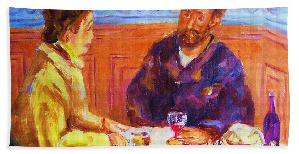 Cafes Beach Sheet featuring the painting Cafe Renoir by Carole Spandau