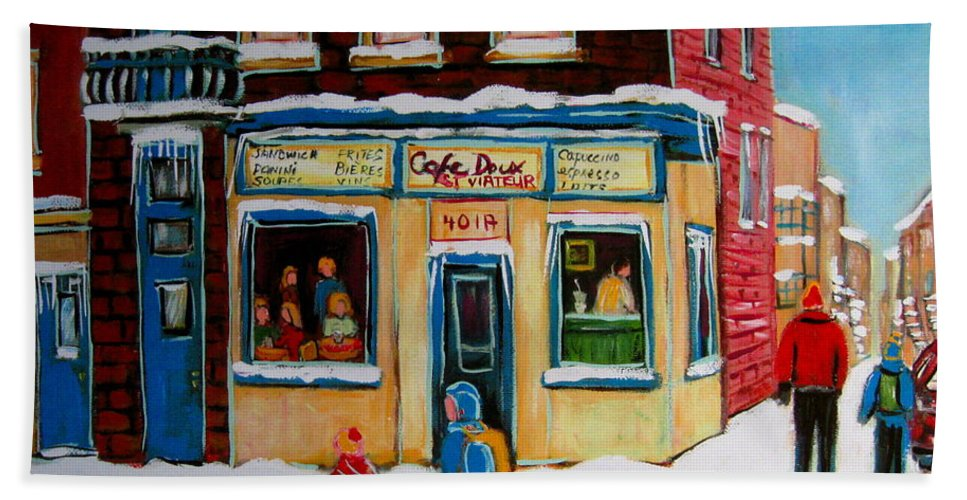 Cafe St. Viateur Montreal Beach Towel featuring the painting Cafe St. Viateur Montreal by Carole Spandau