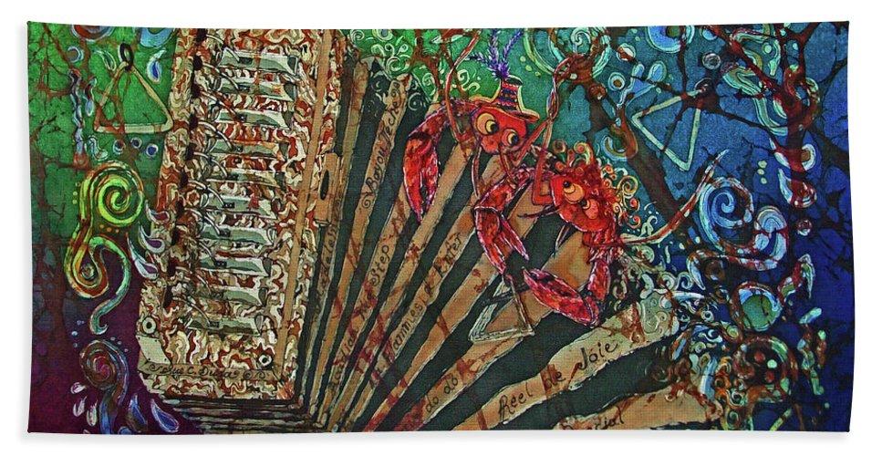 Cajun Beach Towel featuring the painting Cajun Accordian by Sue Duda