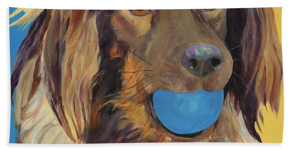 Dog Art Beach Towel featuring the painting Caleigh by Pat Saunders-White